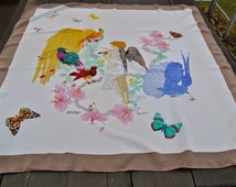 Vintage Montero Sogno ivory silk scarf birds of Eden, butterflies and  angel print in perfect condition