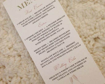 200 Champagne Menu Cards