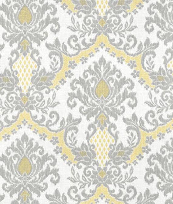 Home decor fabric designer fabric yellow damask gray damask