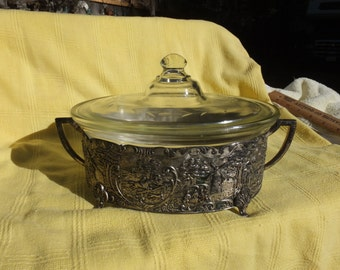 Beautiful Fry Glass Covered Casserole with Gorgeous Ornate Decorative Silverplate Holder