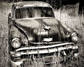 "Old Chevy Car Art, Black and White Photography, Print, Wall Decor, Chevrolet, Vintage Car Art, Wall Art, Garage Art, Man Cave - ""Parked"""