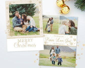 Holiday Card Template for Photographers - Christmas Photoshop Template - 5x7 Photo Card 016 - C231, INSTANT DOWNLOAD