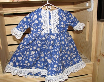 Blue Rose Dress for 18 inch doll with Lace Trim
