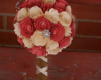 Small Handmade Paper Wedding Bouquet Flower Girl or Toss Bouquet ANY Colors Free matching Boutonnier Coral, Ivory, Burlap