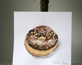 Donut Watercolor Painting - Backery Art - Original painting Zen Kitchen Art  Food illustration Home decor Chocolate doughnut sweet Painting