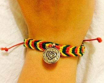 Rasta Macrame Hemp Heart Charm Bracelet, Adjustable Bracelet