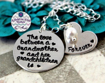 Hand stamped Custom The love between a Grandmother and her grandchildren is forever necklace