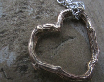 Heart Necklace, Bronze Twig Heart Necklace