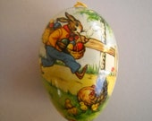 Vintage Germany Paper Mache Easter Egg Candy Container Running Rabbit with Basket of Eggs