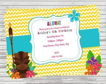 Luau/Hawaiian DIGITAL Birthday Invitation.