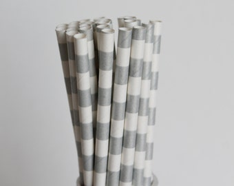 Silver Rugby Horizontal Striped Paper Straws-Silver Straws-Striped Straws-Party Straws-Wedding Straws-Mason Jar Straws-Cake Pop Sticks