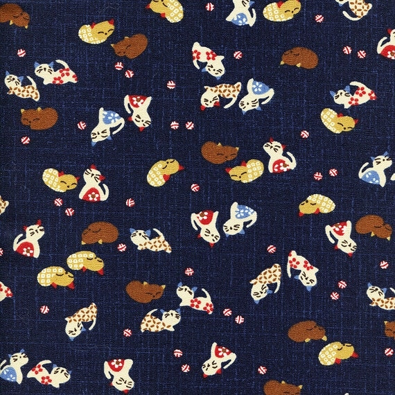 Cat Fabric Japanese Indigo Cotton Quilting Fabric by the half