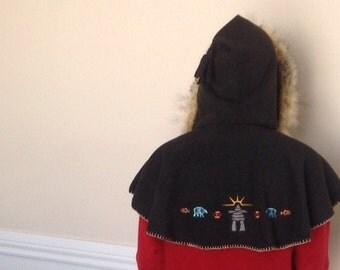 cape wrap, hood hoodie faux fur scoodie hood wrap around front chest boho hoodie shawl