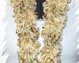 Beautiful Cream/Brown/Gray Loopy Scarf with Hat Set