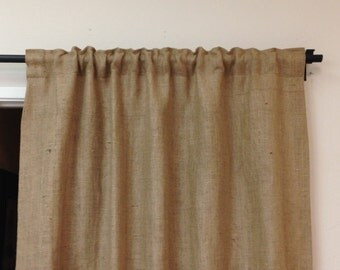 "53"" x 96"" Burlap Curtains/ Burlap Panels /Burlap Curtain Panels/Tan Brown Burlap curtains/Kitchen Curtains"