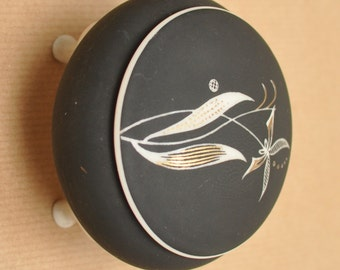Royal Bavaria Porzellan trinket box - Vintage black, gold and white porcelain lidded container