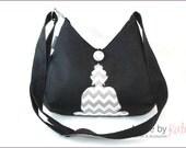 Umhängetasche, Tasche, Schultertasche, Buddha Tasche, schwarze Tasche, Chevron grau