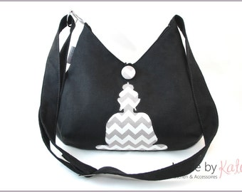 Shoulderbag, bag, cross-body bag, buddha bag, black bag, chevron gray