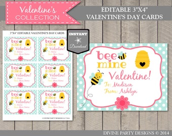 INSTANT DOWNLOAD Editable Bee Mine Valentine's Day Cards / You Type Names / Valentine's Collection
