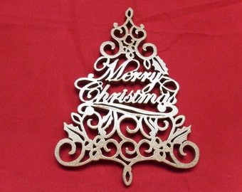 Christmas Tree Scroll Sawn Ornament Decoration