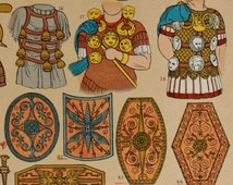 Antique print.1884.Weapons,swords and shields of ROME  in Ancient Times.129 years old print .11,50x8,40 inches