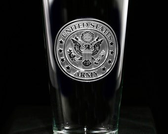 Army  Pub Pint Glass, Engraved Etched Army Glass, Set of 4