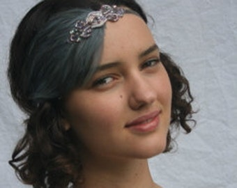 GRAY FLAPPER Feather Headband Silver with Gray or Beige feathers