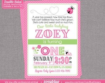 Pink Ladybug Birthday Invitation 1st Birthday Typographic Ladybug with Backing Pink Lady bug Green Black Ladybug Printable Digital File