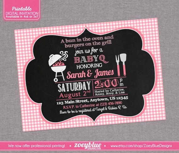 baby q barbeque baby shower invitation girl bbq invitation printable