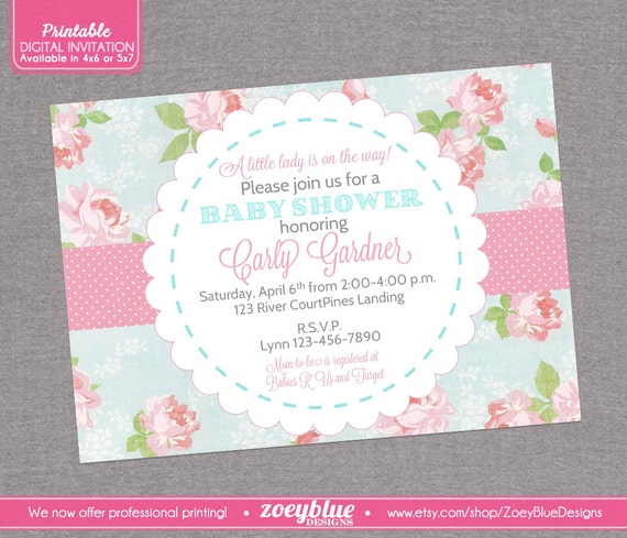 shabby chic baby shower invitation vintage floral pink blue girl baby