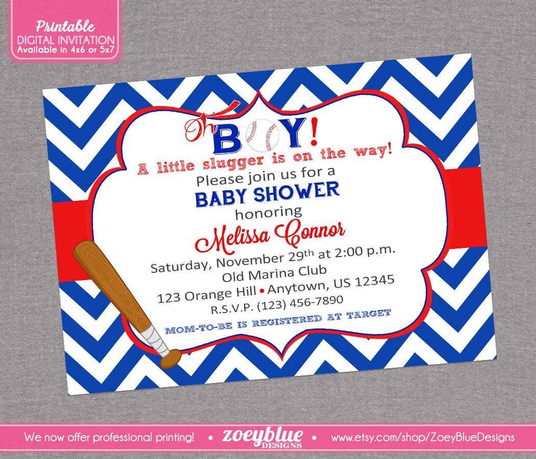 baseball baby shower invitation it 39 s a boy by zoeybluedesigns