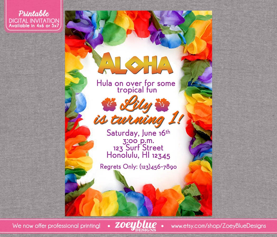 Hawaiian Luau Birthday Party Invitation Girl By