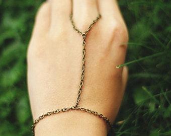 Hand chain, Bronze Hand Harness Ring Bracelet