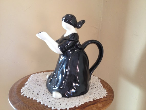 Vintage Dept 56 Black And White Figural Tea Pot By Joanntiques
