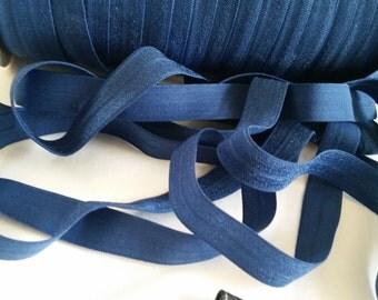 """5/8"""" fold over elastic,  NAVY elastic,solid elastic,FOE elastic,elastic by the yard ,headband elastic"""