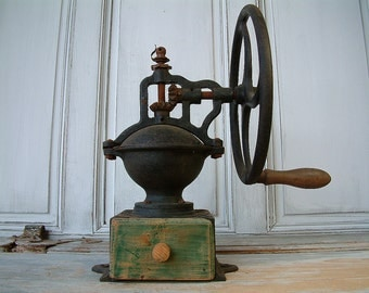 ANTIQUE french coffee grinder with wheel crank by Peugeot Frères. Antique cast iron coffee grinder. Bar top coffee grinder. French bistro.