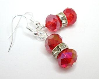 Red earrings, rhinestone, czech glass jewelry, scarlet earrings, red glass jewellery, rondelle earrings, mothers day gift,