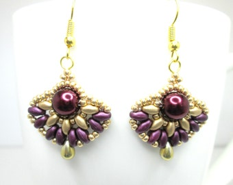 Purple and gold Art deco earrings, super duo earrings, ancient egyptian, pearl earrings, burgundy jewelry fan earrings maroon earrings ER004
