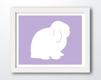 Holland Lop Bunny Print - Rabbit Silhouette