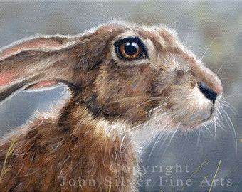 Aceo Print, Wild Hare. From an Original Painting by Award Winning Artist JOHN SILVER. Personally signed. HA003AC