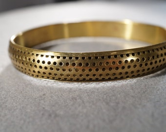 vintage brass bangle bracelet with dotted finish and design   M10