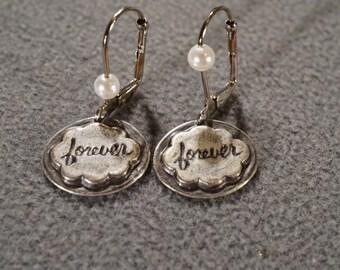 Vintage Art Deco Style Sterling Silver Leverback Cultured Pearl Pierced Earrings Jewelry    K