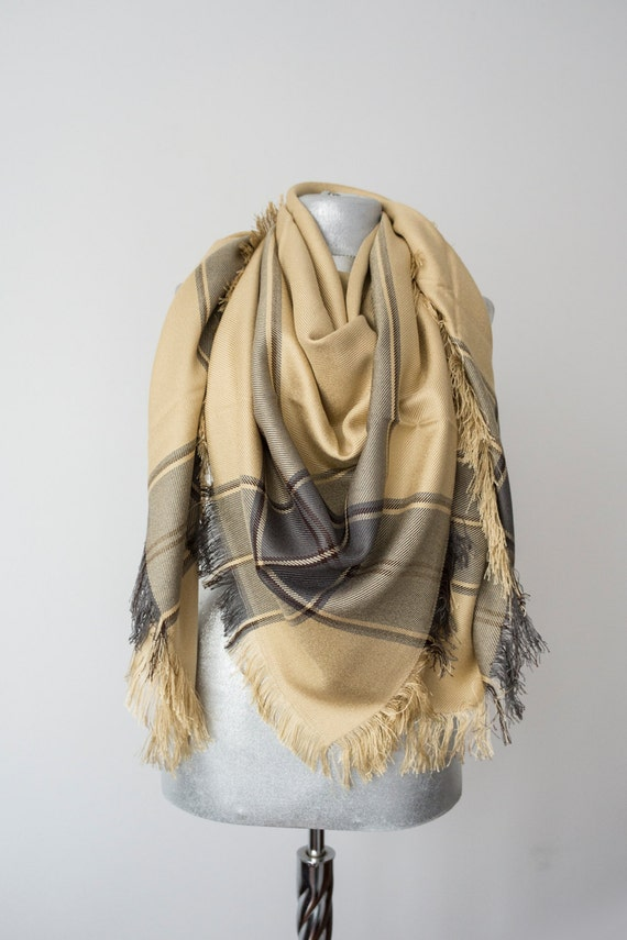 Cream Blanket Scarf Plaid Scarf Holiday Fashion Christmas Gift Fashion Accessory Women Accessory - Gift For Her For Him Men Women Unisex