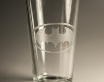 Etched Pint Glass Inspired by Batman