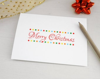 Christmas card Merry christmas greeting card colorful dots script font merry xmas card