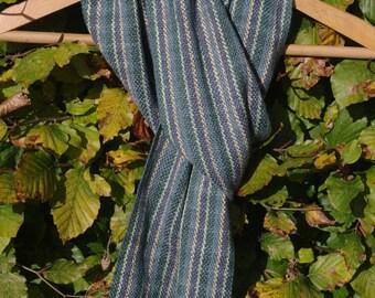 Blue Green Striped Scarf