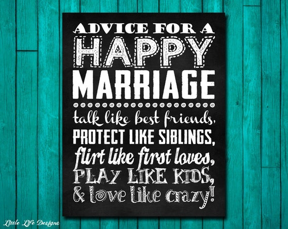 Rules For A Happy Marriage. Wedding Gift. By LittleLifeDesigns