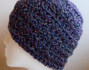 Purple Beanie Hat  Purple Crocheted Beanie Hat Hand Made