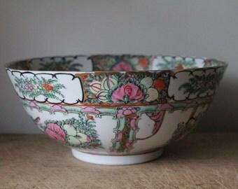 Large Antique Chinese Rose Medallion Bowl - Famille - Vintage - Porcelain - Marked