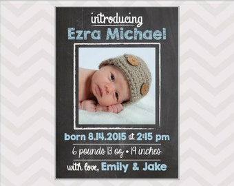 Chalkboard Birth Announcement  -  Baby Boy Announcement - New Baby Card - baby photo card - custom colors available